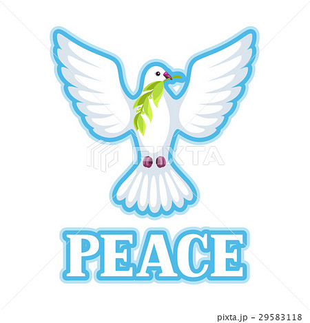 White dove of peace bears olive branch 29583118
