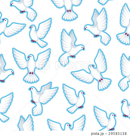 Seamless pattern with white doves. Beautiful 29583138