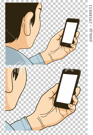 A brochure, a catalog, a cut illustration of a person watching a smartphone that can be used for leaflets 29586631