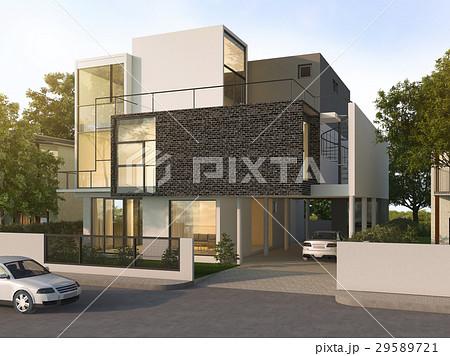 beautiful modern design black brick house  29589721