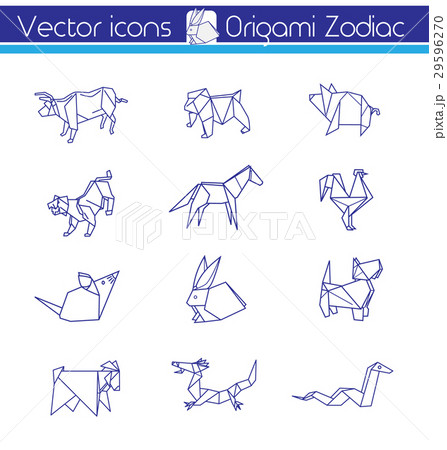 Origami horoscope, Line vector icons. 29596270