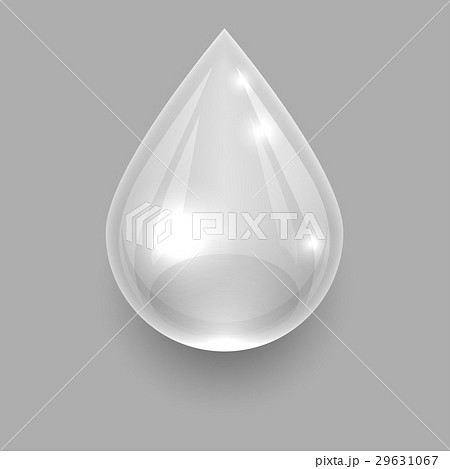 Single transparent water drop on grey backgroundのイラスト素材 [29631067] - PIXTA