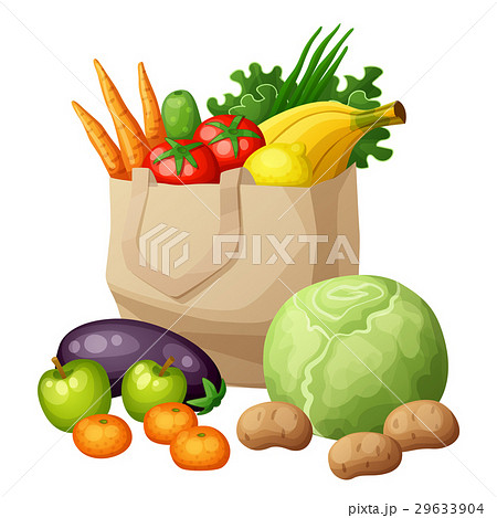 Grocery bag isolated on white backgroundのイラスト素材 [29633904] - PIXTA