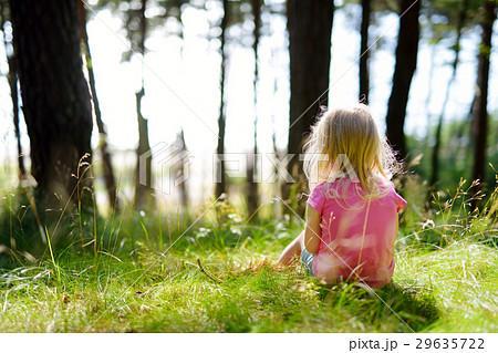 Adorable little girl hiking in the forest on summer day 29635722