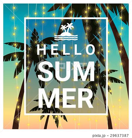 Hello summer background with palm treesのイラスト素材 [29637387] - PIXTA