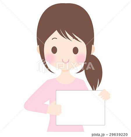 フリップを持つ女性イラスト 背景透過・白背景・ベクター素材 コピースペース 29639220