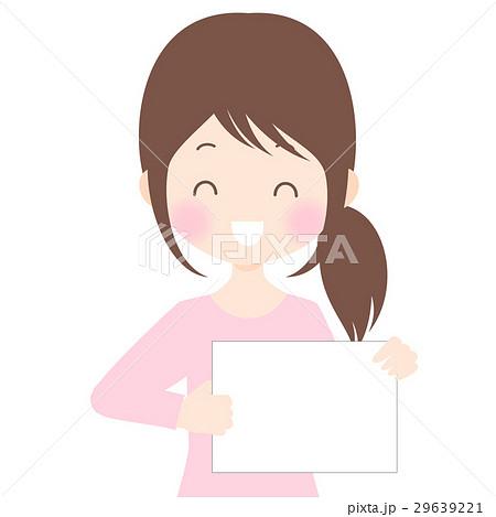 フリップを持つ笑顔の女性イラスト 背景透過・白背景・ベクター素材 コピースペース 29639221
