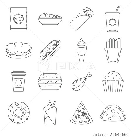 Fast food icons set, outline style 29642660