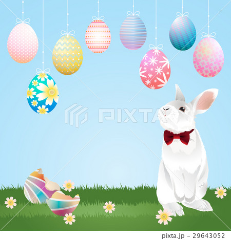 easter eggs hanging and bunnyのイラスト素材 [29643052] - PIXTA