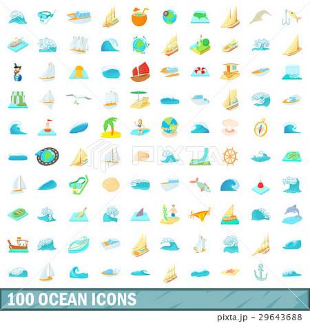 100 ocean icons set, cartoon style 29643688