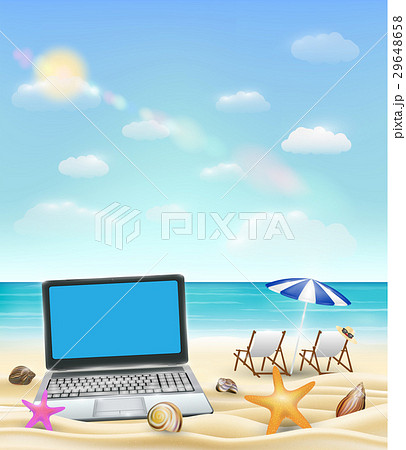 computer laptop on a sand beach with beach chair aのイラスト素材