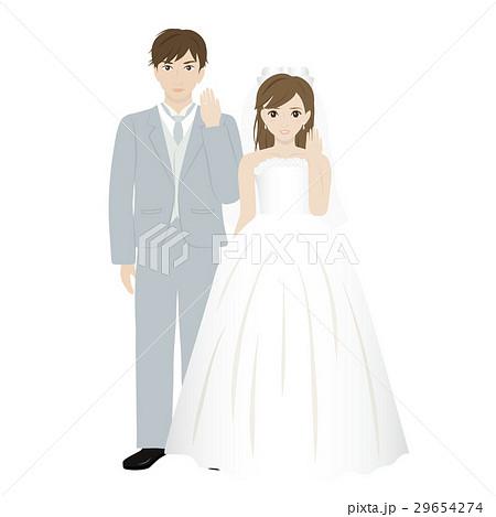 結婚指輪を見せる新郎新婦 29654274