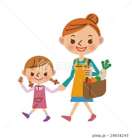 子供と一緒に買い物へ行く主婦 29658245