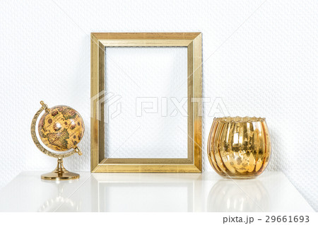Golden picture frame with decorations. の写真素材 [29661693] - PIXTA