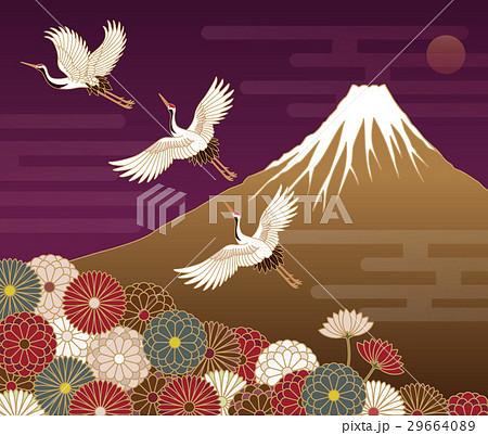 富士山、菊の花、鶴の和風模様 29664089