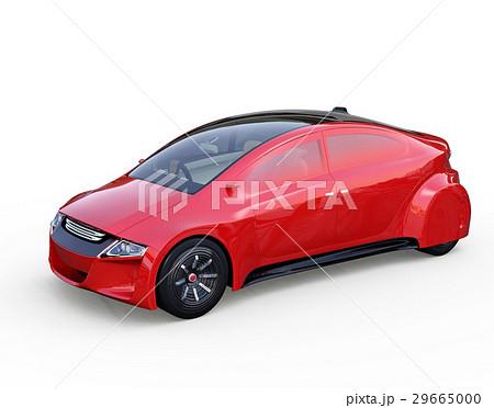 メタリックレッド色の自動運転車のイメージ。オリジナルデザイン。 29665000