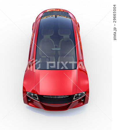 メタリックレッド色の自動運転車のイメージ。オリジナルデザイン。 29665004