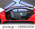 ドアが開いて、前列シートが後ろに回転した状態の自動運転車のインテリアイメージ。 29665006