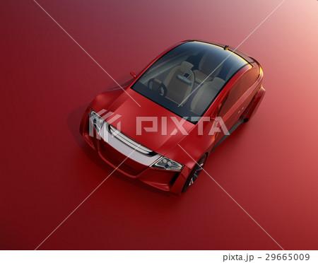 赤い背景にある赤いセダンのイメージ。オリジナルデザイン。 29665009