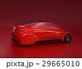 赤い背景にある赤いセダンのイメージ。 29665010