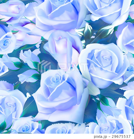 Seamless pattern of watercolor blue rosesのイラスト素材 [29675537] - PIXTA