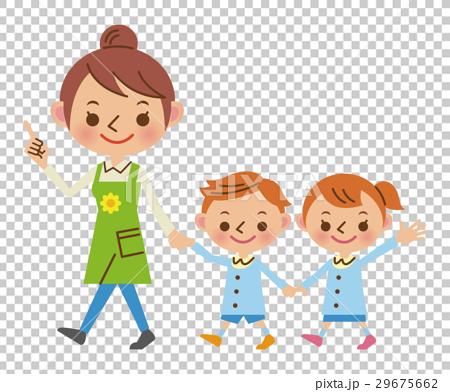 保育士と園児の散歩 29675662