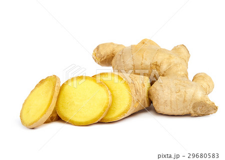 Ginger root isolated on a white backgroundの写真素材 [29680583] - PIXTA