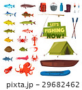 Fishing sport icon with fish, boat, rod, tackle 29682462