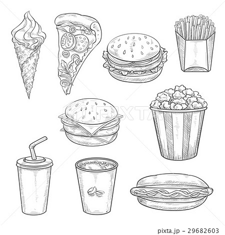 Fast food sandwiches, drink and dessert sketchのイラスト素材 [29682603] - PIXTA