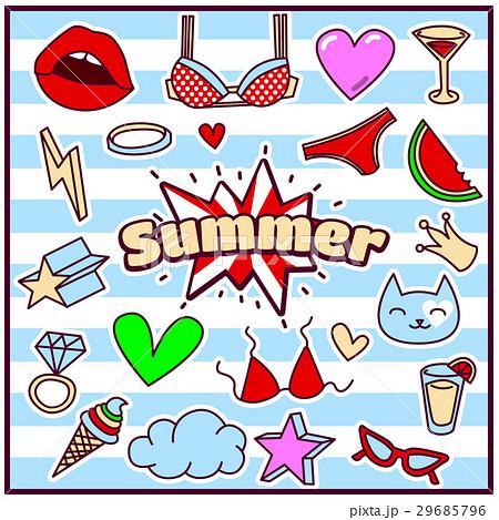 Fashion Summer Patch Badgesのイラスト素材 [29685796] - PIXTA