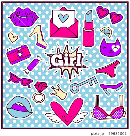 Fashion Summer Patch Badgesのイラスト素材 [29685801] - PIXTA
