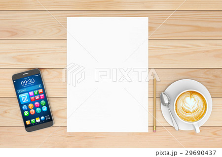 Smartphone, notepad, pencil,coffee on wooden table 29690437