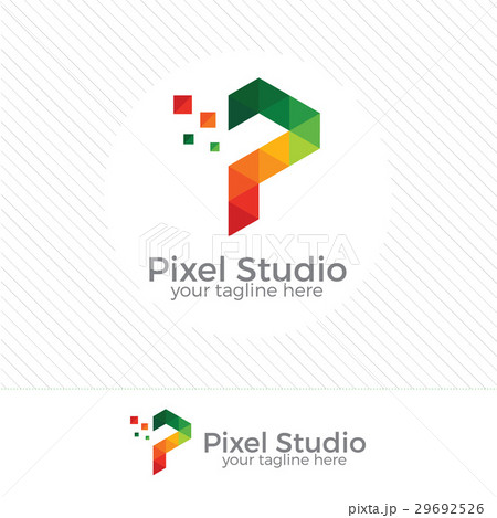 colorful pixel letter p logo vector template のイラスト素材