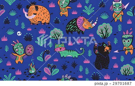 Stone Age vector pattern in blue colorsのイラスト素材 [29701687] - PIXTA