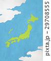 日本地図 和紙 雲のイラスト 29708555