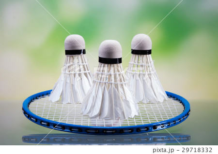 A set of badminton. Paddle and the shuttlecock. 29718332