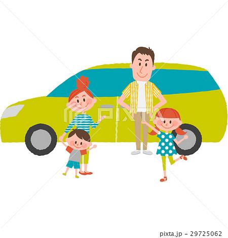 マイカーでお出かけする家族 29725062