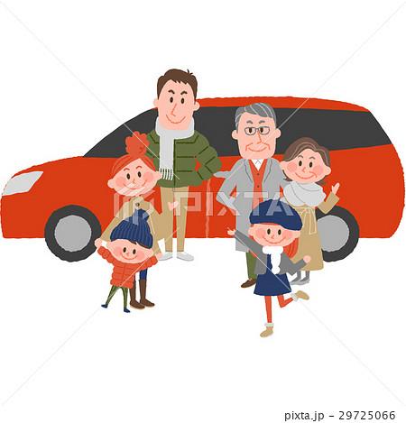 マイカーでお出かけする家族 29725066