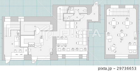 Standard cafe furniture symbols on floor plansのイラスト素材 [29736653] - PIXTA