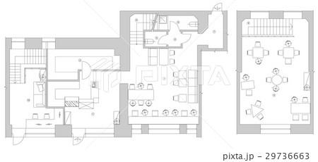 Standard cafe furniture symbols on floor plansのイラスト素材 [29736663] - PIXTA