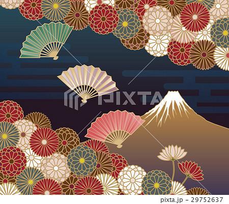 富士山、菊の花と扇の伝統的な和風模様 29752637