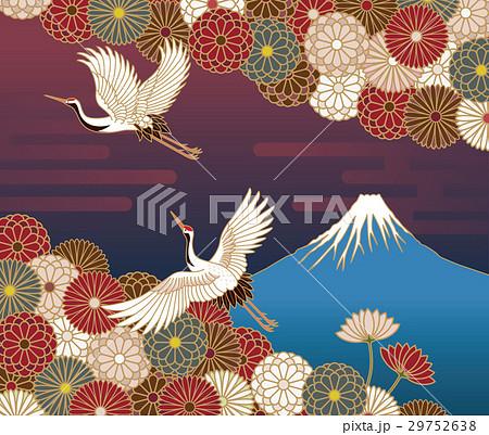 富士山、鶴と菊の花の伝統的和風模様 29752638