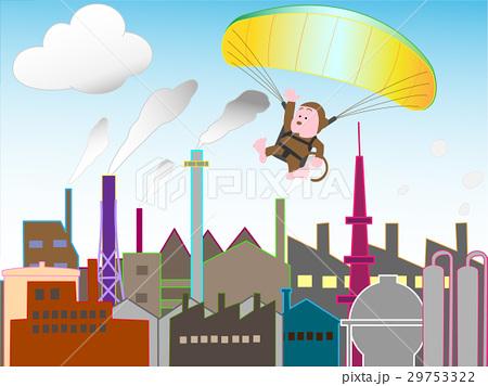 工業地帯を飛ぶパラグライダー 29753322