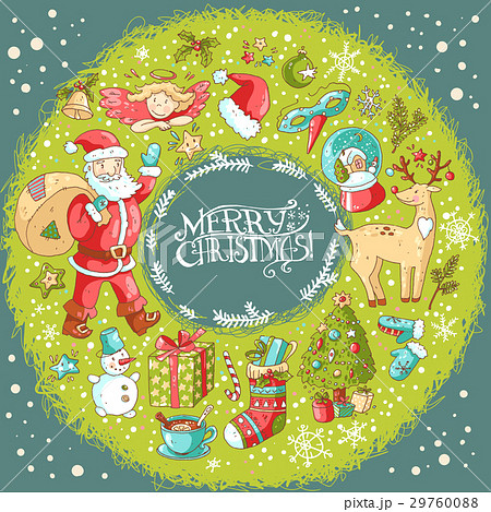Vector Christmas and New Year greeting card with 29760088