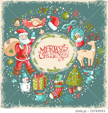 Vector Christmas and New Year greeting card with 29760093