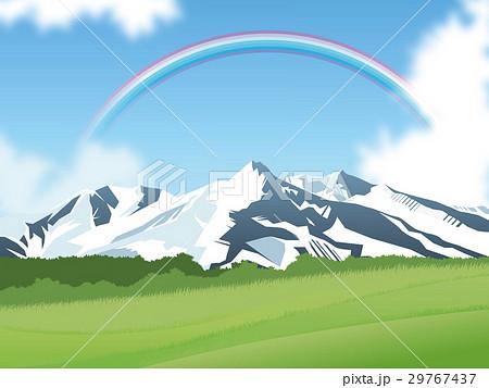 雪山と草原のイラスト素材 29767437 Pixta