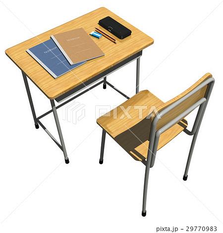 教室の机と文具学習勉強学校などのイメージのイラスト素材 29770983