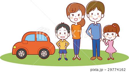 マイカーと二世帯家族のイラスト 29774162