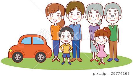 マイカーと三世帯家族のイラスト 29774165
