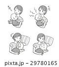 育児(お母さんと赤ちゃん)モノクロ 29780165